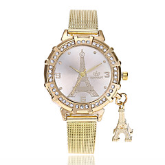 preiswerte Damenuhren-Damen Armbanduhr Chinesisch Imitation Diamant Legierung Band Freizeit / Eiffelturm / Modisch Gold