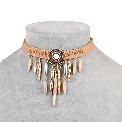 preiswerte Halsketten-Damen Kubikzirkonia Halsketten - Zirkon, Leder Klassisch, Modisch Hellbraun Modische Halsketten Schmuck 1 Für Alltag