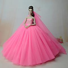 abordables Ropa para Barbies-Vestidos Una Sola Pieza por Muñeca Barbie  Rosa Brillante Satén/Tul Vestido por Chica de muñeca de juguete