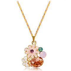 preiswerte Halsketten-Damen Kristall / Kubikzirkonia Anhängerketten - Krystall, Zirkon, vergoldet Blumen / Botanik, Blume Regenbogen Modische Halsketten 1 Für Party, Alltag