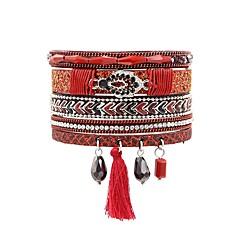 preiswerte Armbänder-Damen Quaste Wickelarmbänder - Krystall, Leder Blattform Böhmische, Boho Armbänder Rot / Grün / Blau Für Festtage Ausgehen