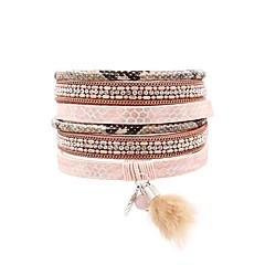 preiswerte Armbänder-Damen Wickelarmbänder - Leder, Pelz Böhmische, Boho Armbänder Blau / Rosa Für Normal Festtage