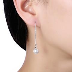 preiswerte Ohrringe-Damen Perle Tropfen-Ohrringe - Künstliche Perle S925 Sterling Silber damas Grundlegend Schmuck Weiß Für Alltag Büro & Karriere