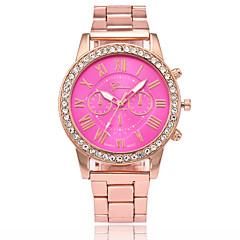 preiswerte Herrenuhren-Herrn Damen Quartz Chinesisch Imitation Diamant Armbanduhren für den Alltag Legierung Band Modisch Gold