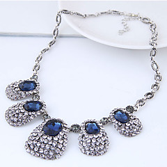 cheap Necklaces-Women's Rhinestone Statement Necklace  -  Vintage Fashion European Geometric Dark Blue Necklace For Party