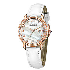 preiswerte Damenuhren-CADISEN Damen Armbanduhren für den Alltag Modeuhr Japanisch Quartz Echtes Leder Bandmaterial Weiß / Lila 30 m Wasserdicht Kalender Armbanduhren für den Alltag Analog damas Modisch Elegant - Wei