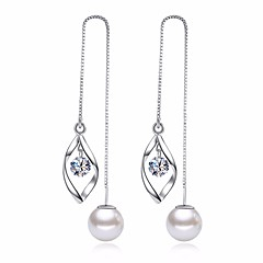 cheap Women's Jewelry-Women's Leaf Cubic Zirconia / Imitation Pearl Drop Earrings - Basic / Fashion Silver Earrings For Daily / Ceremony