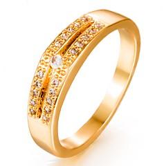 お買い得  指輪-女性用 キュービックジルコニア 幾何学模様 バンドリング - ゴールドメッキ ファッション 7 / 8 / 9 ゴールド 用途 結婚式 / 贈り物
