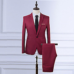 ieftine Blazer & Costume de Bărbați-Bărbați Zilnic / Muncă Vintage Mărime Plus Size Regular Blazer, Mată Rever Clasic Manșon Lung Poliester Roșu Vin / Albastru Deschis / Kaki XL / XXL / XXXL / Business Formal / Zvelt