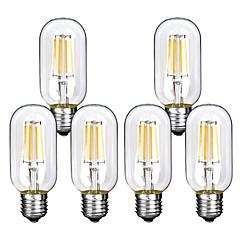 お買い得  LED 電球-6本 4W 360lm E26 / E27 フィラメントタイプLED電球 T45 4 LEDビーズ COB 装飾用 温白色 クールホワイト 220-240V