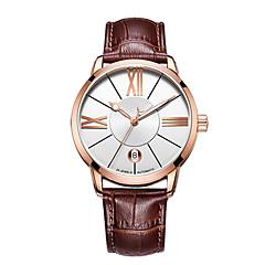 preiswerte Herrenuhren-CADISEN Herrn Armbanduhren für den Alltag Modeuhr Japanisch Automatikaufzug 50 m Wasserdicht Kalender Armbanduhren für den Alltag Echtes Leder Band Analog Modisch Elegant Schwarz / Braun - Schwarz