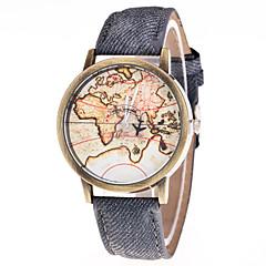 お買い得  メンズ腕時計-男性用 / 女性用 ファッションウォッチ 中国 カジュアルウォッチ レザー バンド ヴィンテージ / 世界地図柄 ブラック / 白 / ブルー
