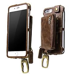 Недорогие Кейсы для iPhone-Кейс для Назначение Apple iPhone 6 Plus iPhone 7 Plus Бумажник для карт Кошелек Защита от удара Нарукавная повязка Чехол Сплошной цвет