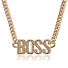 preiswerte Halsketten-Damen Monogramme Anhängerketten - Diamantimitate Modisch, überdimensional Gold, Silber 50 cm Modische Halsketten Für Party / Abend, Abiball