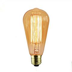 お買い得  LED&照明機器-1個 40W E26/E27 ST58 暖かい黄色 2000 K 装飾用 白熱ビンテージエジソン電球 110-120V 220-240V