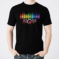 cheap LED Novelty Lights-LED T-shirts Glow Pure Cotton LED Casual 2 AAA Batteries