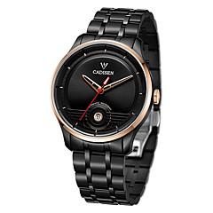 お買い得  メンズ腕時計-CADISEN 男性用 ファッションウォッチ ドレスウォッチ 機械式時計 日本産 自動巻き ブラック / 白 50 m 耐水 カレンダー カジュアルウォッチ ハンズ ぜいたく ファッション - ホワイト ブラック / ステンレス