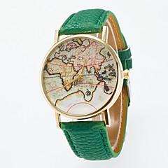 お買い得  メンズ腕時計-男性用 女性用 ファッションウォッチ クォーツ カジュアルウォッチ レザー バンド ハンズ ヴィンテージ 世界地図柄 ブラック / ブルー / レッド - ライトブルー カーキ色 ライトグリーン