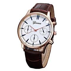 preiswerte Herrenuhren-Herrn Quartz Kleideruhr Modeuhr Chinesisch Chronograph PU Band Elegant Schwarz Braun