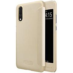 abordables Novedades-Funda Para Huawei P20 Pro P20 con Ventana Flip Congelada Activación al abrir / Reposo al cerrar Funda de Cuerpo Entero Un Color Dura