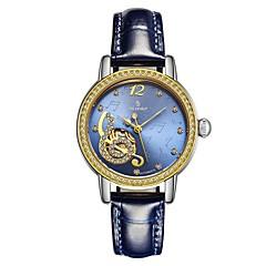 preiswerte Damenuhren-Damen Mechanische Uhr Japanisch Automatikaufzug 30 m Wasserdicht Echtes Leder Band Analog Elegant Rosa / Rose / Pool-Blau - Grün Blau Rosa