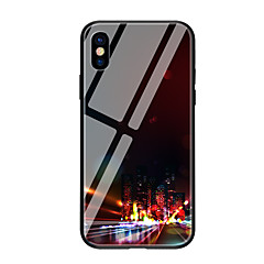 halpa iPhone kotelot-Etui Käyttötarkoitus Apple iPhone X iPhone 8 Kuvio Takakuori city ​​View Kova Karkaistu lasi varten iPhone X iPhone 8 Plus iPhone 8