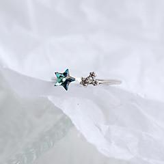 preiswerte Ringe-Kubikzirkonia Stulpring - Sterling Silber Stern damas, Süß, Modisch Schmuck Silber Für Geschenk Alltag Verstellbar