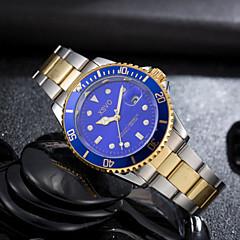 billige Ure med stålremme-Herre Quartz Armbåndsur Kalender Selvlysende i mørke Rustfrit stål Bånd Luksus Afslappet Mode Sølv