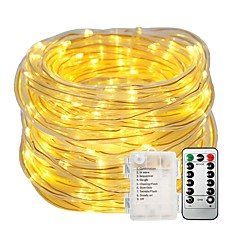 halpa Valosarjat-10 tuumaa Koristevalot Valosetit 100pcs LEDit Lämmin valkoinen Valkoinen Vedenkestävä Koristeltu Akut viritettyinä 1set