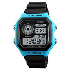 お買い得  メンズ腕時計-SKMEI 男性用 デジタル デジタルウォッチ アラーム カレンダー 耐水 カジュアルウォッチ ラバー バンド カジュアル クール ブラック