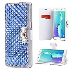 Недорогие Чехлы и кейсы для Galaxy Note 5-Кейс для Назначение SSamsung Galaxy Note 8 Note 5 Бумажник для карт Стразы со стендом Флип Чехол Однотонный Твердый Кожа PU для Note 8