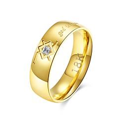 preiswerte Herrenschmuck-Herrn Cool Edelstahl Bandring - Kreisform Rockig Gold Ring Für Alltag / Arbeit