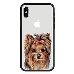 Недорогие Кейсы для iPhone X-Кейс для Назначение Apple iPhone X iPhone 8 Plus С узором Кейс на заднюю панель С собакой Мультипликация Животное Твердый Акрил для