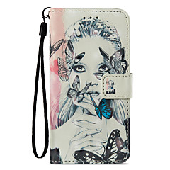 Недорогие Кейсы для iPhone X-Кейс для Назначение Apple iPhone X iPhone 8 Plus Бумажник для карт Кошелек со стендом Флип С узором Чехол Бабочка Соблазнительная девушка