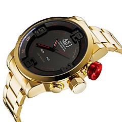 preiswerte Herrenuhren-ASJ Herrn digital Sportuhr Japanisch Alarm Kalender Wasserdicht Nachts leuchtend Stopuhr Edelstahl Band Luxus Modisch Gold