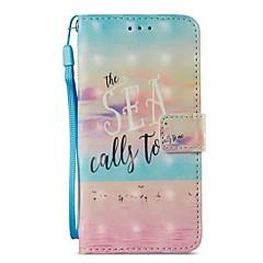 Недорогие Кейсы для iPhone 6 Plus-Кейс для Назначение Apple iPhone X iPhone 8 Plus Бумажник для карт Кошелек со стендом Флип Магнитный Чехол Пейзаж Твердый Кожа PU для
