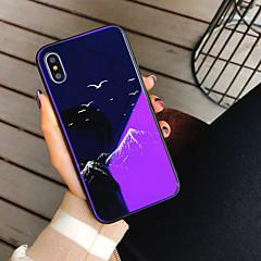 Недорогие Кейсы для iPhone X-Кейс для Назначение Apple iPhone X / iPhone 8 С узором Кейс на заднюю панель Пейзаж / Мультипликация Твердый Закаленное стекло для iPhone X / iPhone 8 Pluss / iPhone 8