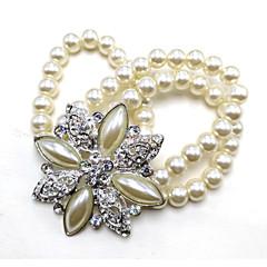 お買い得  ブレスレット-女性用 バングル  -  クリスタル, 人造真珠, 銀メッキ ブレスレット シルバー 用途 結婚式