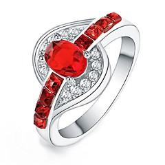 preiswerte Ringe-Damen Statement-Ring - Krystall, Zirkon, versilbert Modisch, Erklärung 6 / 7 / 8 Grün / Blau / Rosa Für Alltag