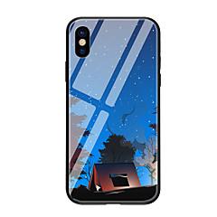 Недорогие Кейсы для iPhone X-Кейс для Назначение Apple iPhone X iPhone 8 С узором Кейс на заднюю панель Пейзаж Твердый Закаленное стекло для iPhone X iPhone 8 Pluss