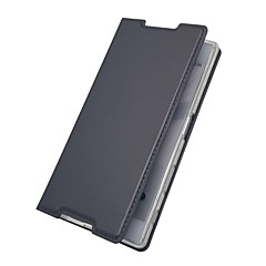 Недорогие Чехлы и кейсы для Sony-Кейс для Назначение Sony Xperia XZ Premium Xperia X compact Бумажник для карт со стендом Флип Магнитный Чехол Однотонный Твердый Кожа PU