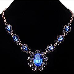tanie Biżuteria damska-Damskie Kryształ Oświadczenie Naszyjniki - Kwiat, Lampka zmieniająca kolory Modny Light Blue, Dark Gray, Granatowy Naszyjniki Na Impreza, Specjalne okazje, Urodziny