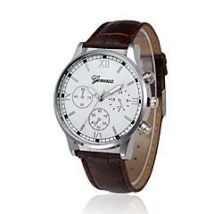 voordelige Herenhorloges-Heren Dress horloge Chinees Chronograaf / Grote wijzerplaat PU Band Luxe / Vintage Zwart / Zilver