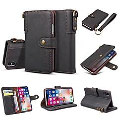Недорогие Кейсы для iPhone 6 Plus-Кейс для Назначение Apple iPhone X iPhone 8 Plus Бумажник для карт Кошелек Флип Чехол Однотонный Твердый Кожа PU для iPhone X iPhone 8