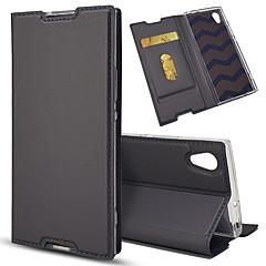 Недорогие Чехлы и кейсы для Sony-Кейс для Назначение Sony Xperia Z5 Mini / Xperia XZ Бумажник для карт / со стендом / Флип Чехол Однотонный Твердый Кожа PU для Sony Xperia Z5 / Sony Xperia Z5 Compact / Z5 Mini