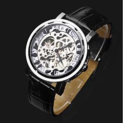 お買い得  メンズ腕時計-ASJ 男性用 リストウォッチ 機械式時計 自動巻き 透かし加工 レザー バンド ハンズ ぜいたく ファッション ブラック - シルバー
