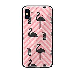 Недорогие Кейсы для iPhone X-Кейс для Назначение Apple iPhone X iPhone 8 С узором Кейс на заднюю панель Фламинго Твердый Закаленное стекло для iPhone X iPhone 8 Pluss