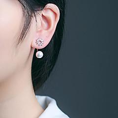 preiswerte Ohrringe-Damen Kubikzirkonia Süßwasserperle Lang Ohrstecker - S925 Sterling Silber, Süßwasserperle Blume Koreanisch, Süß, Modisch Silber Für Geschenk Alltag