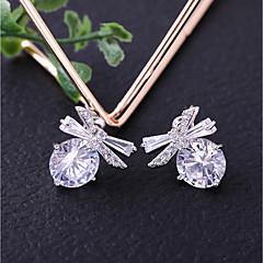 preiswerte Ohrringe-Damen Kubikzirkonia Ohrstecker / Tropfen-Ohrringe - Schleife Einfach, Modisch Weiß Für Hochzeit / Alltag