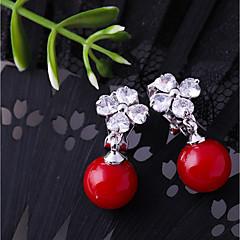 preiswerte Ohrringe-Damen Kubikzirkonia Klips - Blume Modisch Rot Für Hochzeit / Verlobung